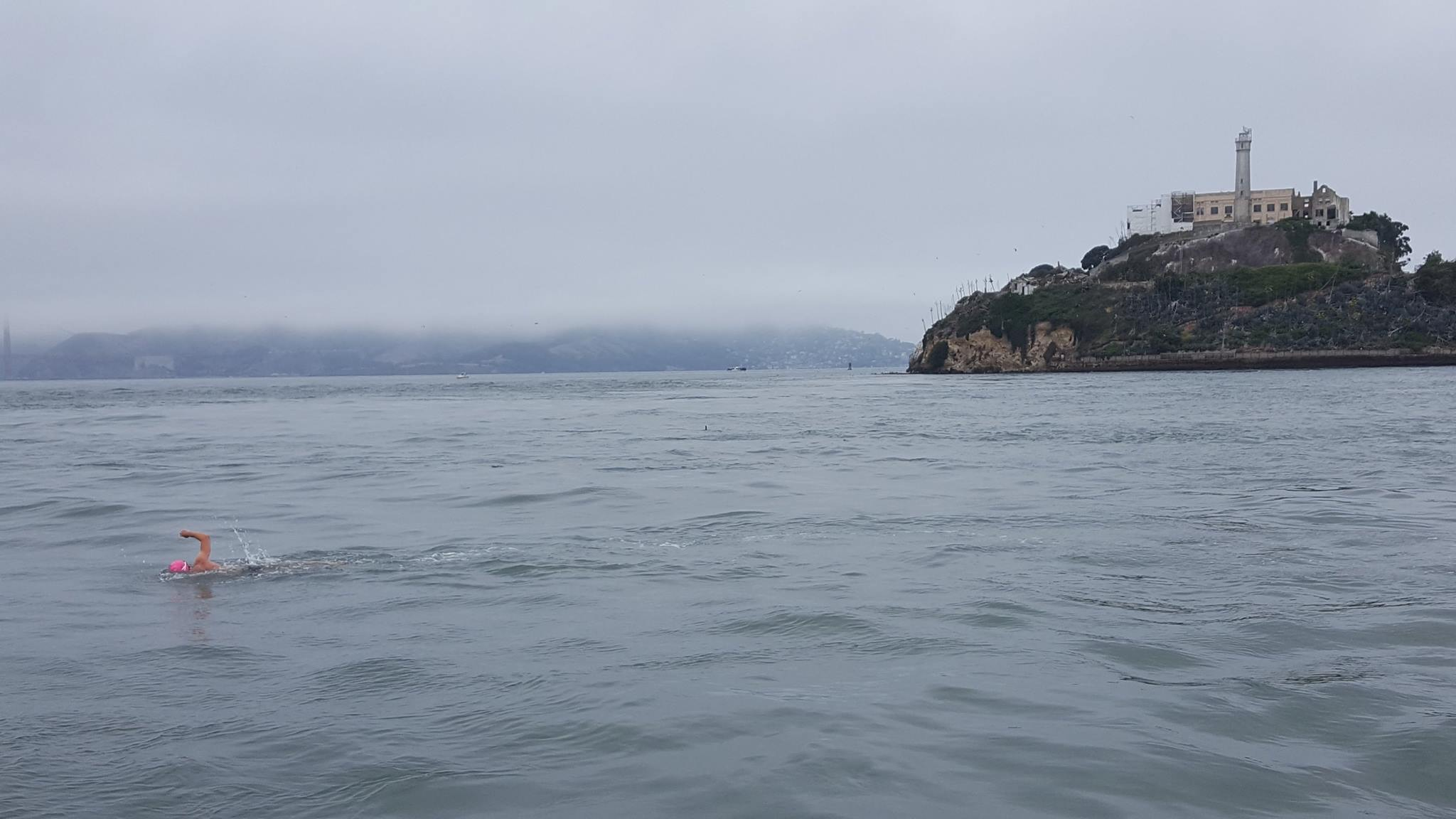Setting off from Alcatraz with the fog descending