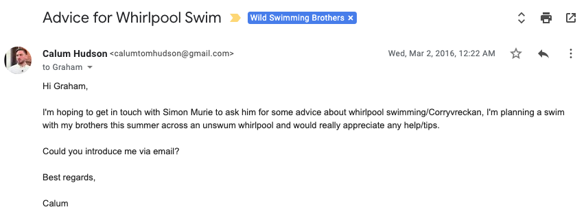 First email sent for the Norwegian maelstrom swims.