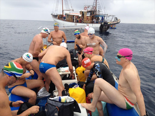 """The South African Madswimmers on their """"Great Shark Swim""""…"""