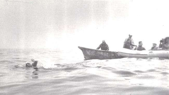 Lynne Cox crossing the Bering Strait.