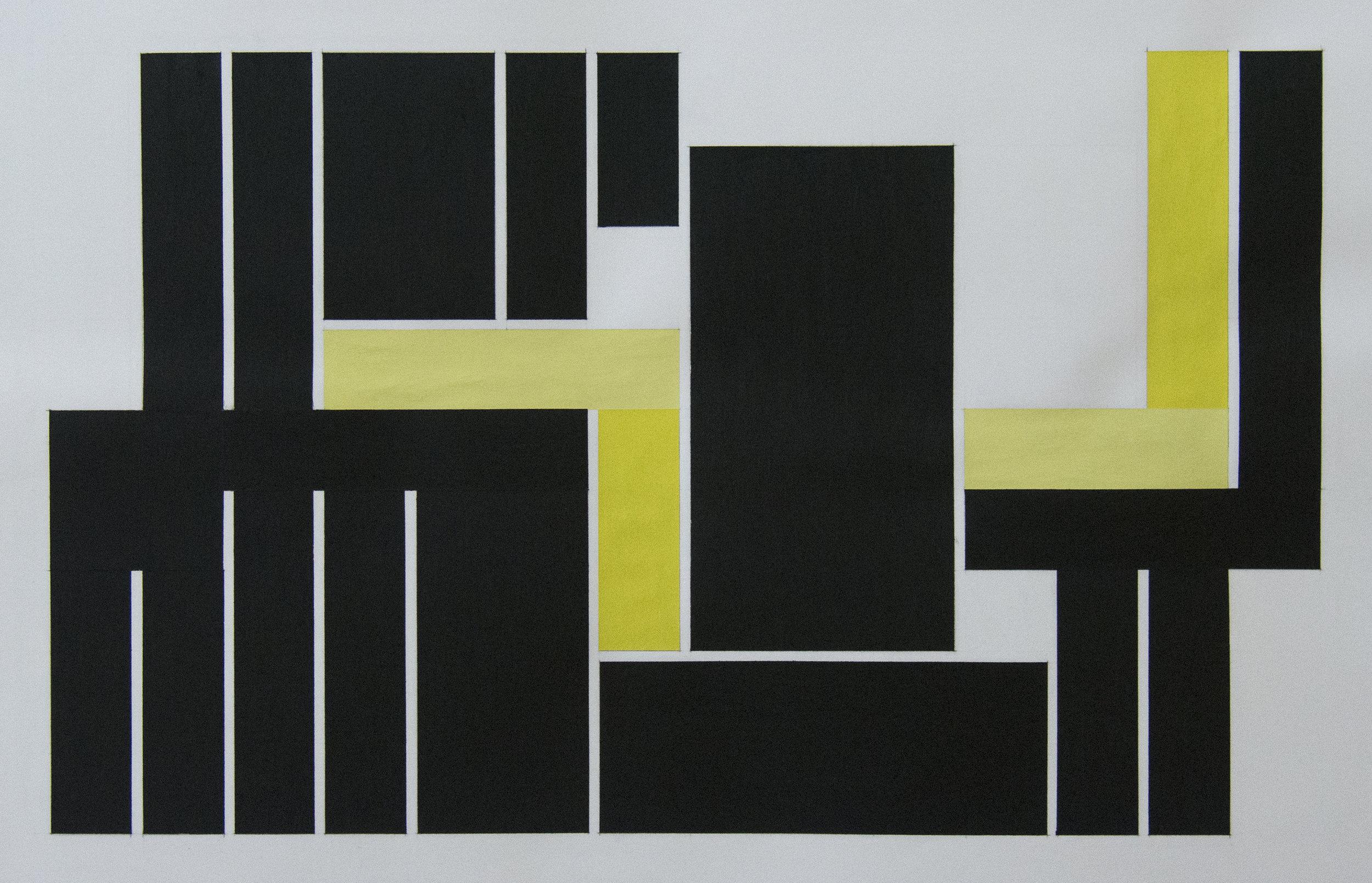 40x60 cm Blyant, oljepastell og gouache på papir 2018