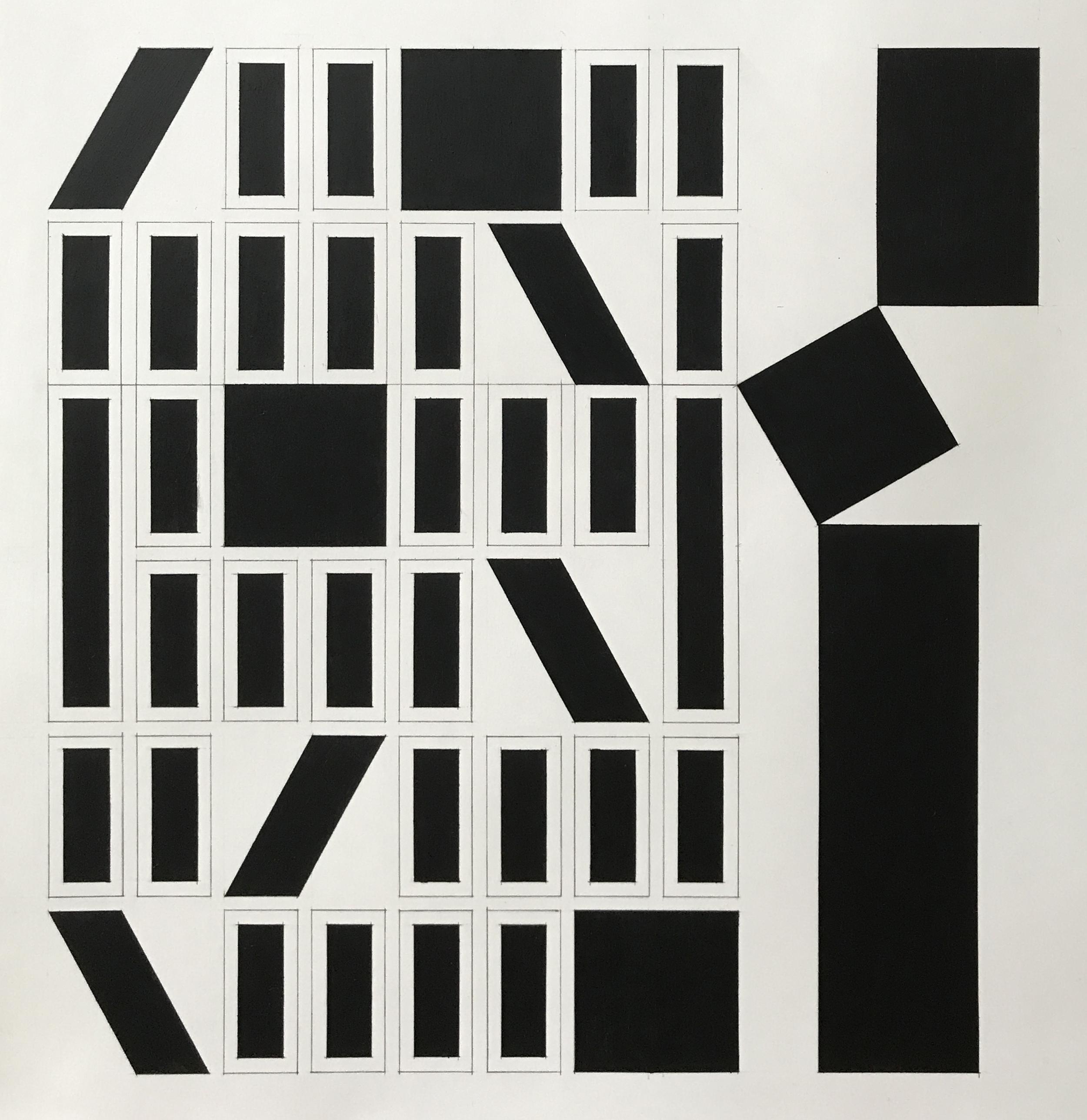 70x66 cm Blyant og oljepastell på papir 2018