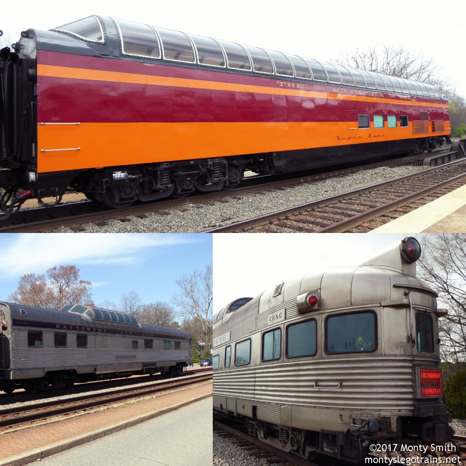 """""""Super Dome"""" (Top), """"Moonlight Dome"""" (Bottom Left) and """"Silver Solarium"""" (Bottom Right) were three of the privately owned passenger cars I caught over April Fool's weekend."""