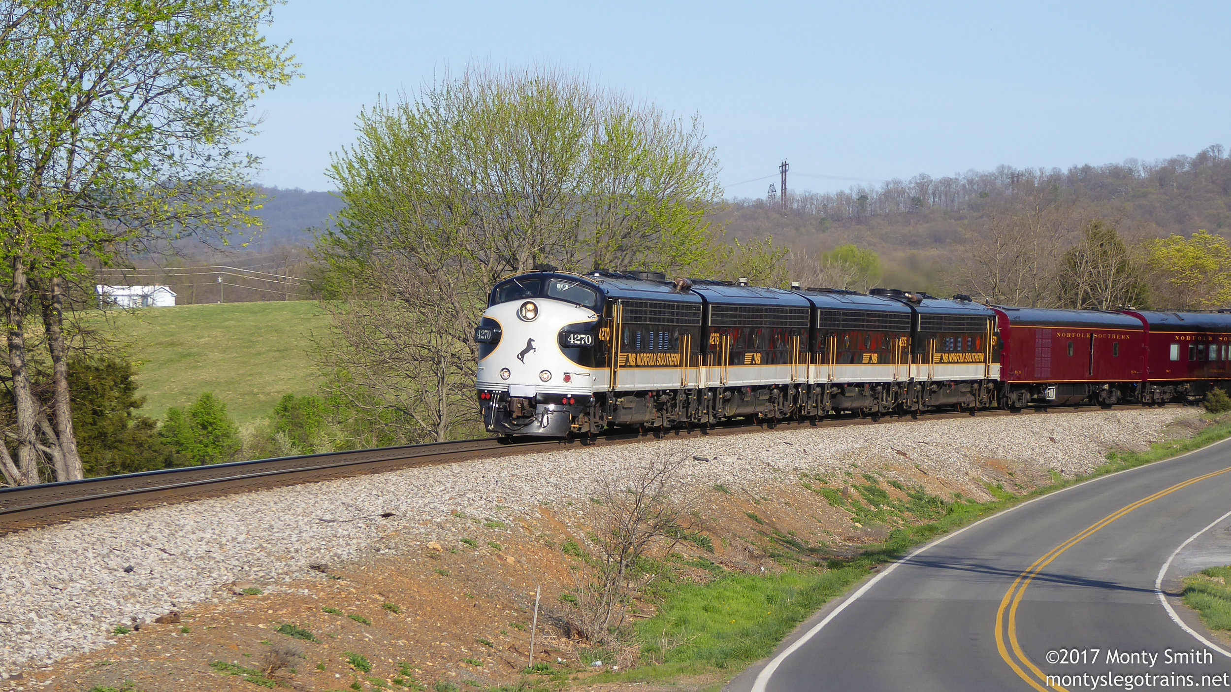 A photograph I've been waiting a decade to take: Norfolk Southern's Office Car Special through the Virginia countryside.