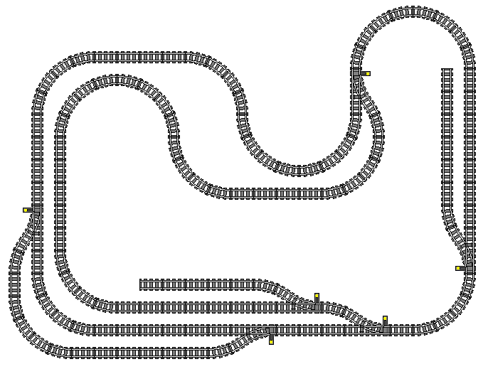 This layout is packed with operational interest: two stub-end sidings, a passing loop in the lower left, and a very long passing loop (which could be considered an alternate mainline route) stretching from the switch at the upper right of the plan, to the switch at the lower right, going around the left side of the layout.