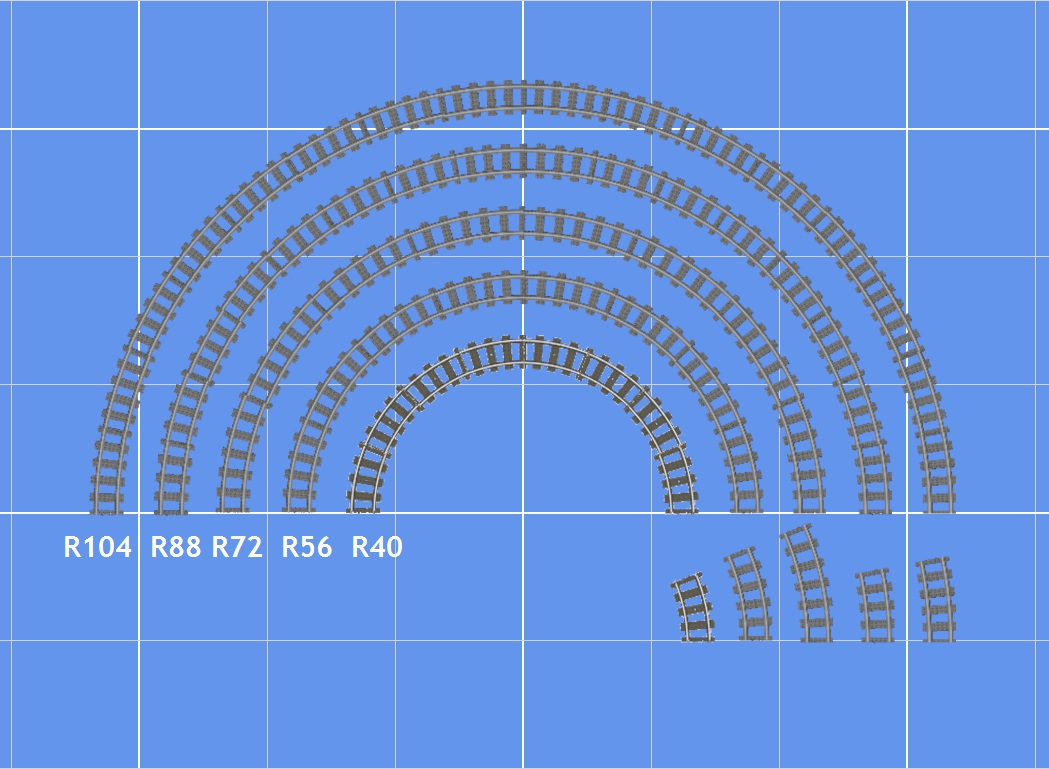 "This image, created using the BlueBrick software, shows a half-circle made of standard Lego curves in the center, surrounded by half-circles made up of wider-radius curves. The number after the ""R"" refers to the radius of each curve, measured in studs. Not shown are R120 curves. The size of each individual piece of curved track is shown in the lower right. For comparison, the radius of 40 is equivalent to 12.6 inches, or 32 cm. The radius of 104 is equivalent to 32.8 inches or 83.2 cm. Remember that the radius is measured from the center of the rails, not the inside or outside edge of the curve!"