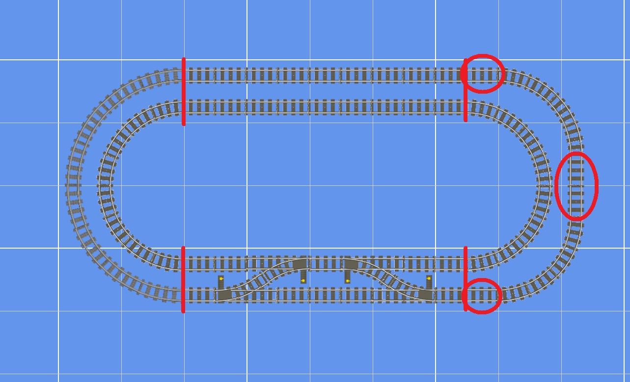 The outer loop of this double-track layout uses R56 curves on the left side of the plan. On the right, both inside and outside loops use R40 curves. Note that the right side of the layout requires four more straight tracks to fit the outer loop curves around the inner loop. One might also argue that the curves on the left side of the layout are more aesthetically pleasing.