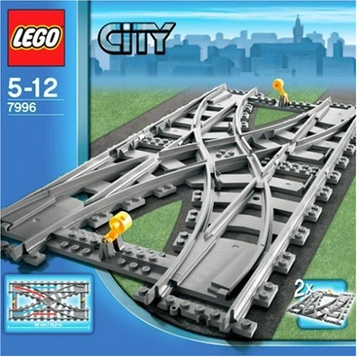 The short-lived, official double-crossover switch from Lego. Note how the pairs of points at each end share a switch throw. Even on the box art, it shows that one set of points is straight while the other is set for the diverging route. Very poor design. Image sourced from amazon.com