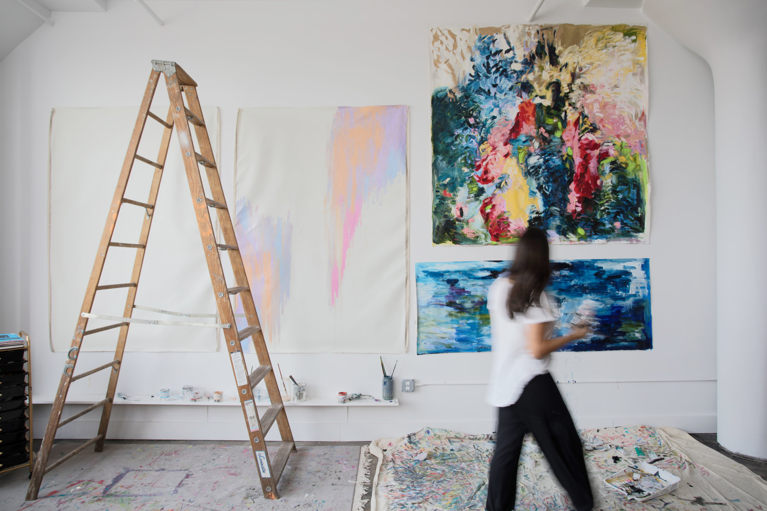At work inside my studio.  The Wild Things  holding court over three other paintings that were waiting to be created. Captured by  Federico Photography .