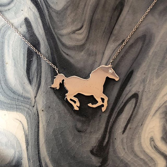 "Just Horsing Around On This Friday! This Is ""Chance,"" My Horse Pendant And He Is Ready To Prance Around With You. #ccsparkles #customjewelry #horsenecklace #horsesofinstagram #horses"