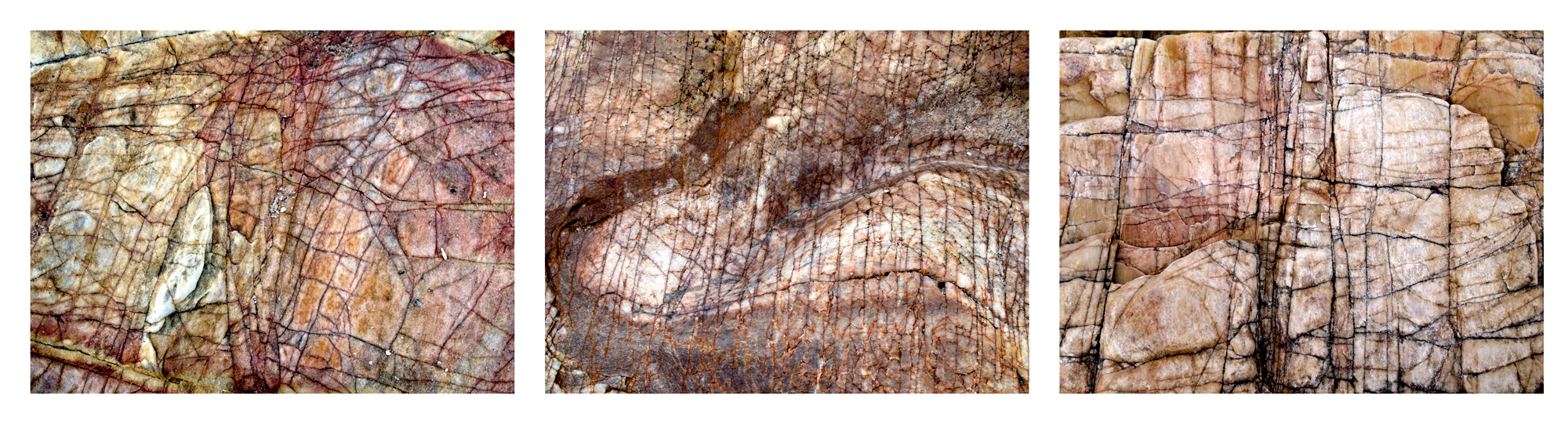 "Sea Writings I,  Ceara Brazil  3 images, 15"" x 20"", 2015"