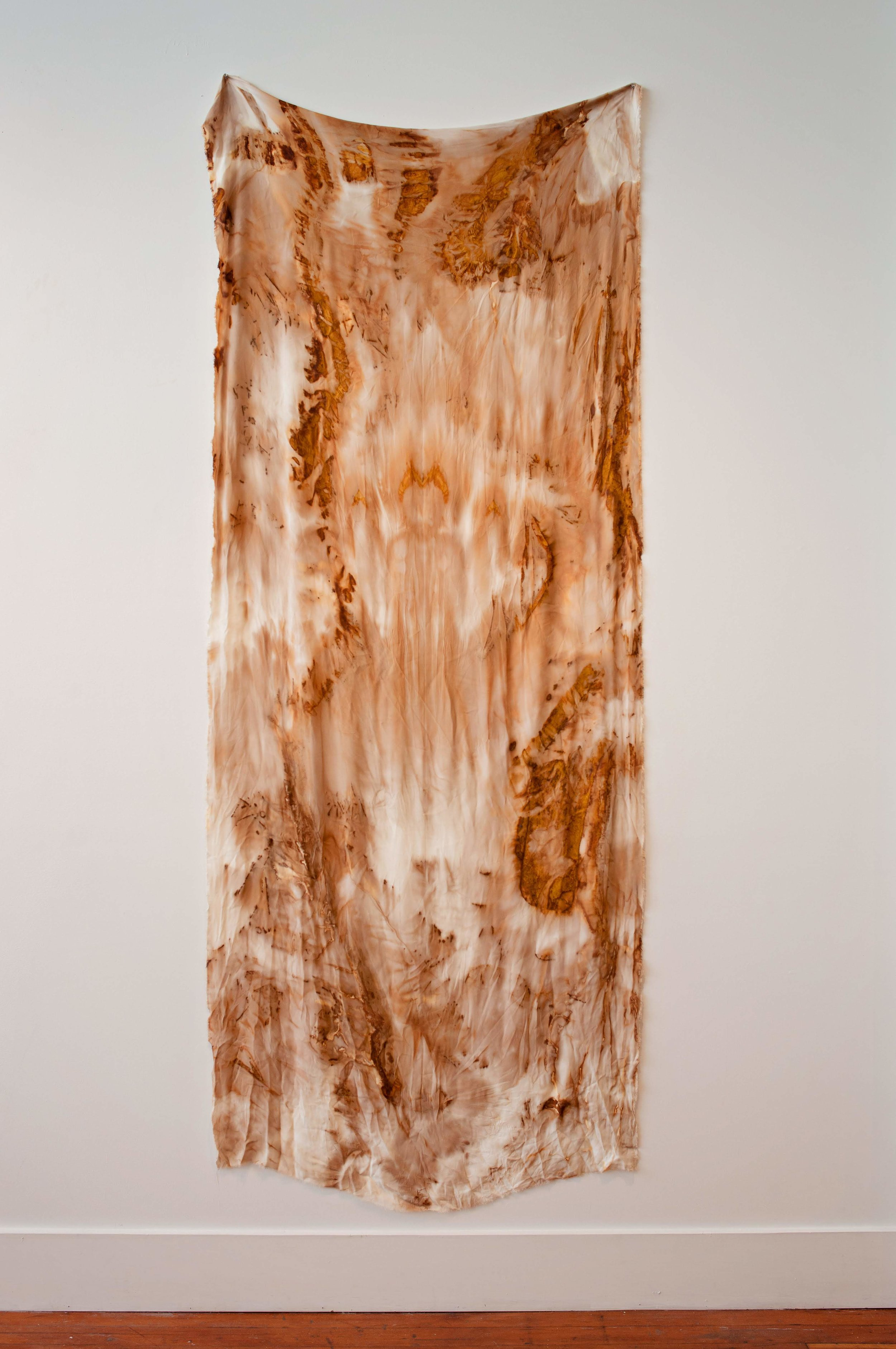 Rust imprinted silk from Angel Island, 2018, 144 x 48 inches