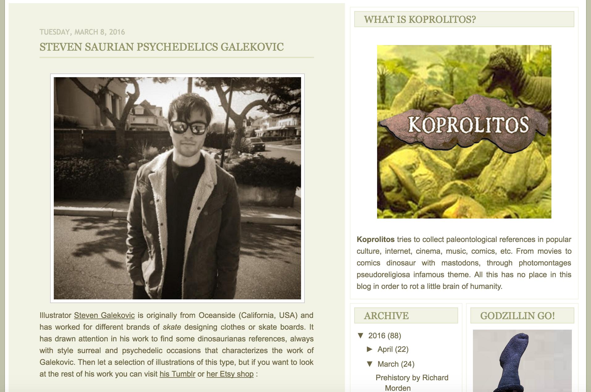 Koprolitos Blogspot com Psychedelic Dinosaur Illustrations Review