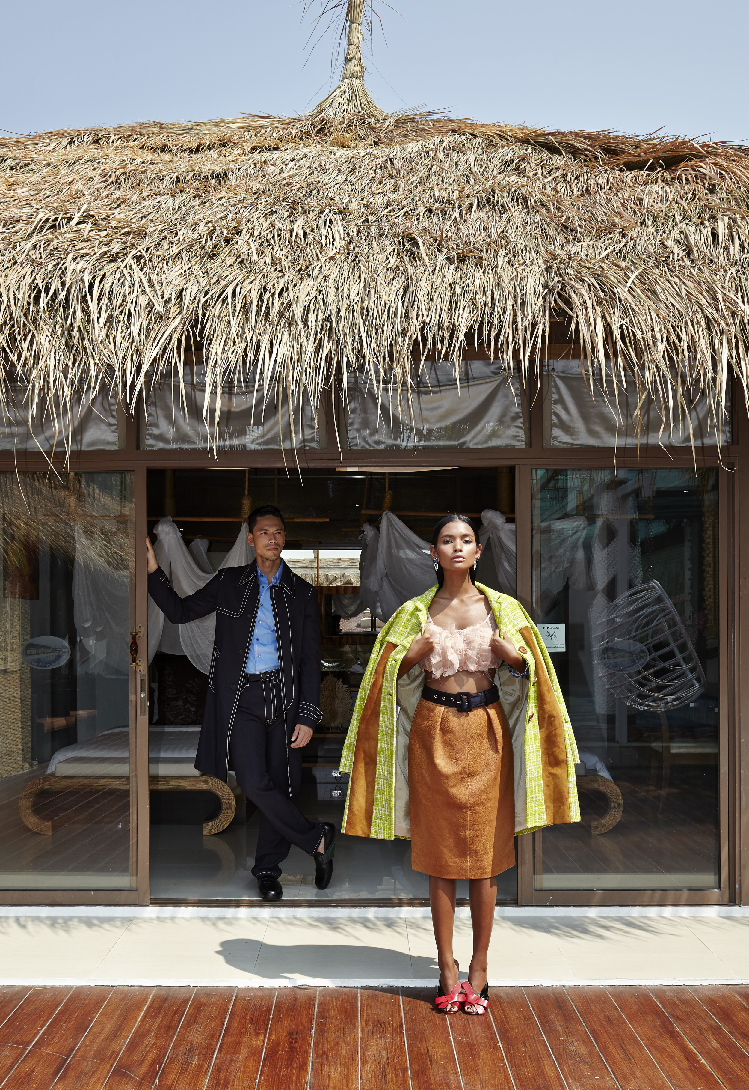 Female : clothes and shoes : MIU MIU / accessories : PRADA  Male :clothes and shoes : PRADA