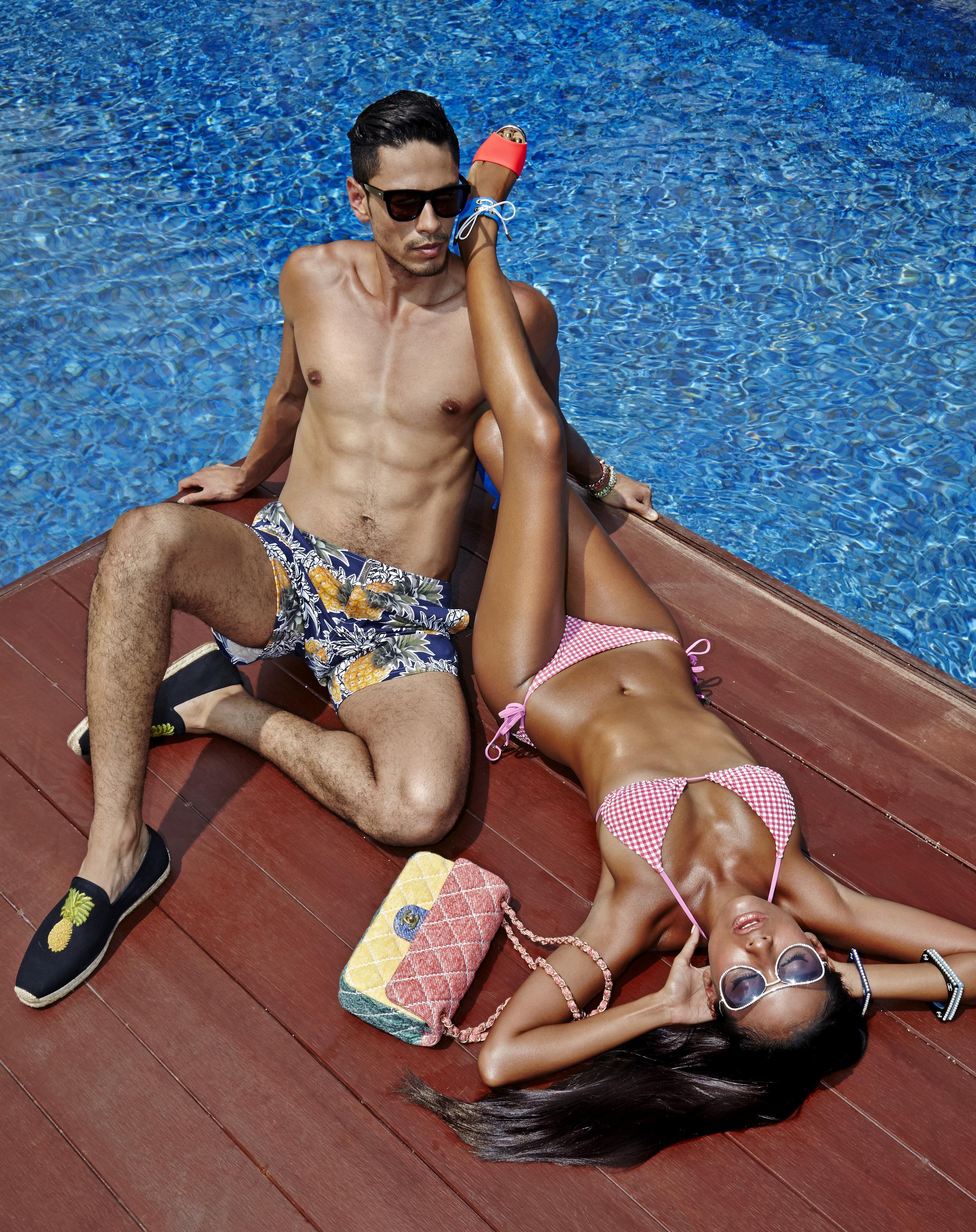 Female : Bikini : Vilebrequin / Bag, sunglasses and accessories : CHANEL / shoes : Christian Louboutin  Male : Trunks : Vilebrequin / shoes : Christian Louboutin