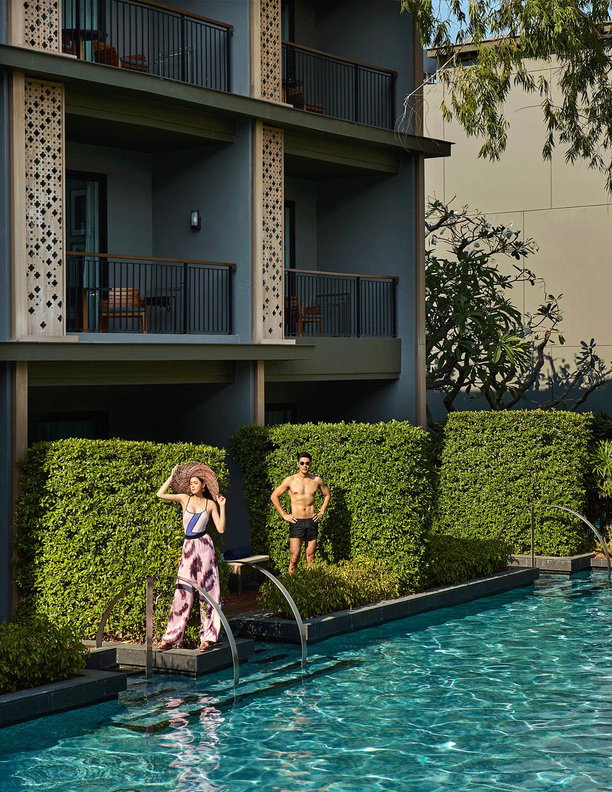 Mungkorn : shorts : SARIT / sunglasses : TAVAT  Nachad : swimwear : La La Love / pants : Calvin Klein Platinum / shoes : Christian Louboutin
