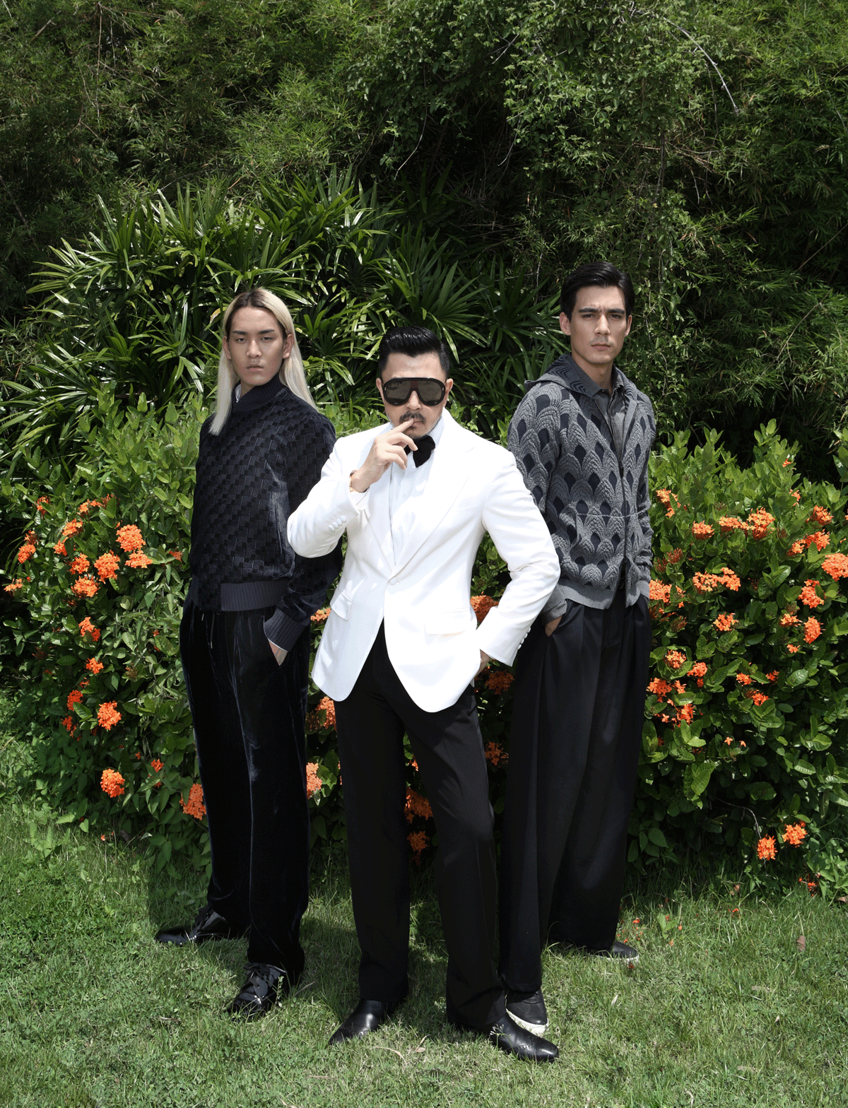 Mentor Moo in his own clothes/ Third and Attila in Emporio Armani