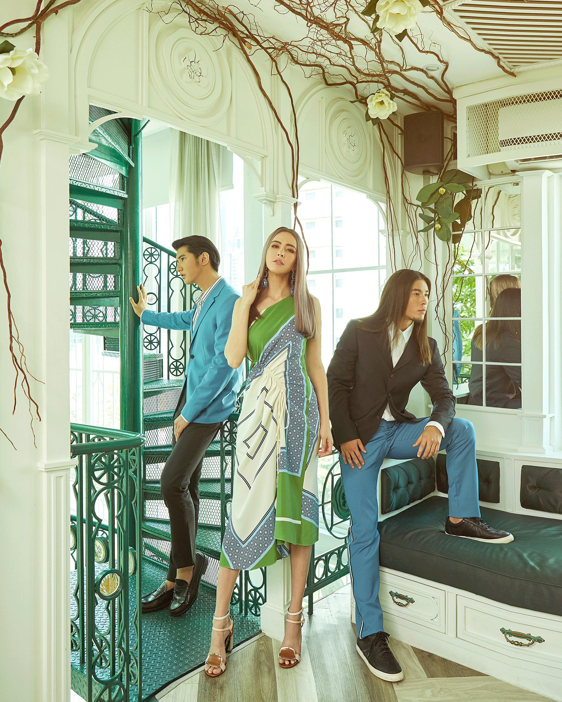Sririta :dress : Tory Burch / shoes : Roger Vivier / earrings : Butler & Wilson London  Man and Felix : clothes : CK Calvin Klein