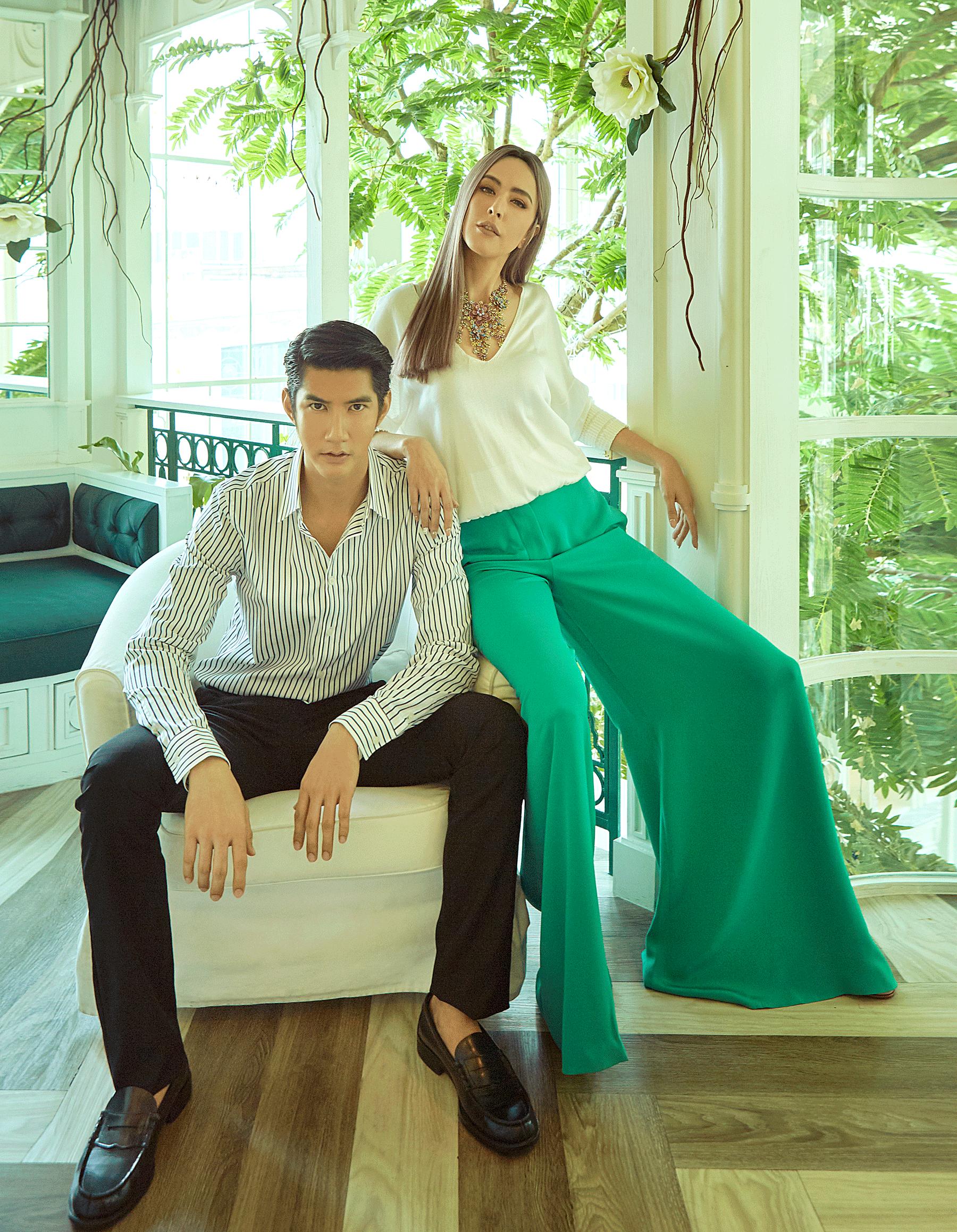 Sririta :clothes : Tory Burch / necklace : Butler & Wilson London  Man : Clothes : CK Calvin Klein