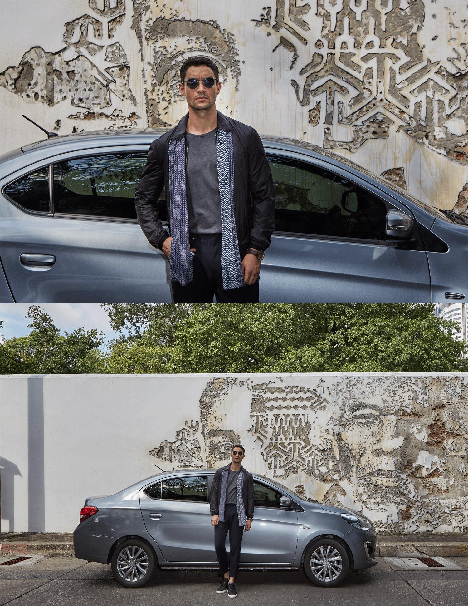 car : Mitsubishi NEW Attrage  jacket : CK Calvin Klein / sunglasses : TAVAT