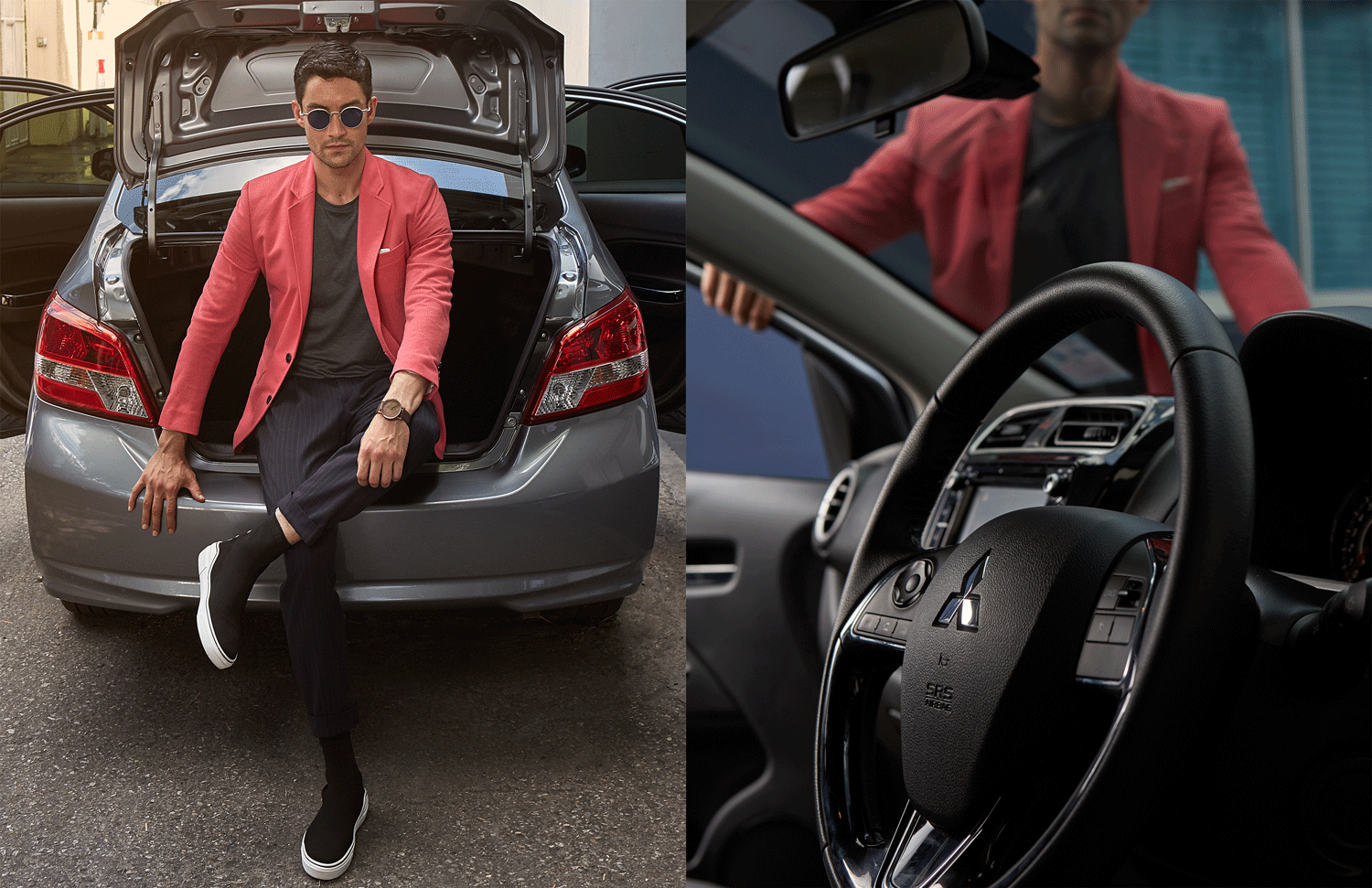 car : Mitsubishi NEW Attrage  clothes : SARIT / sunglasses : TAVAT / watch : FORREST / shoes : GIVENCHY