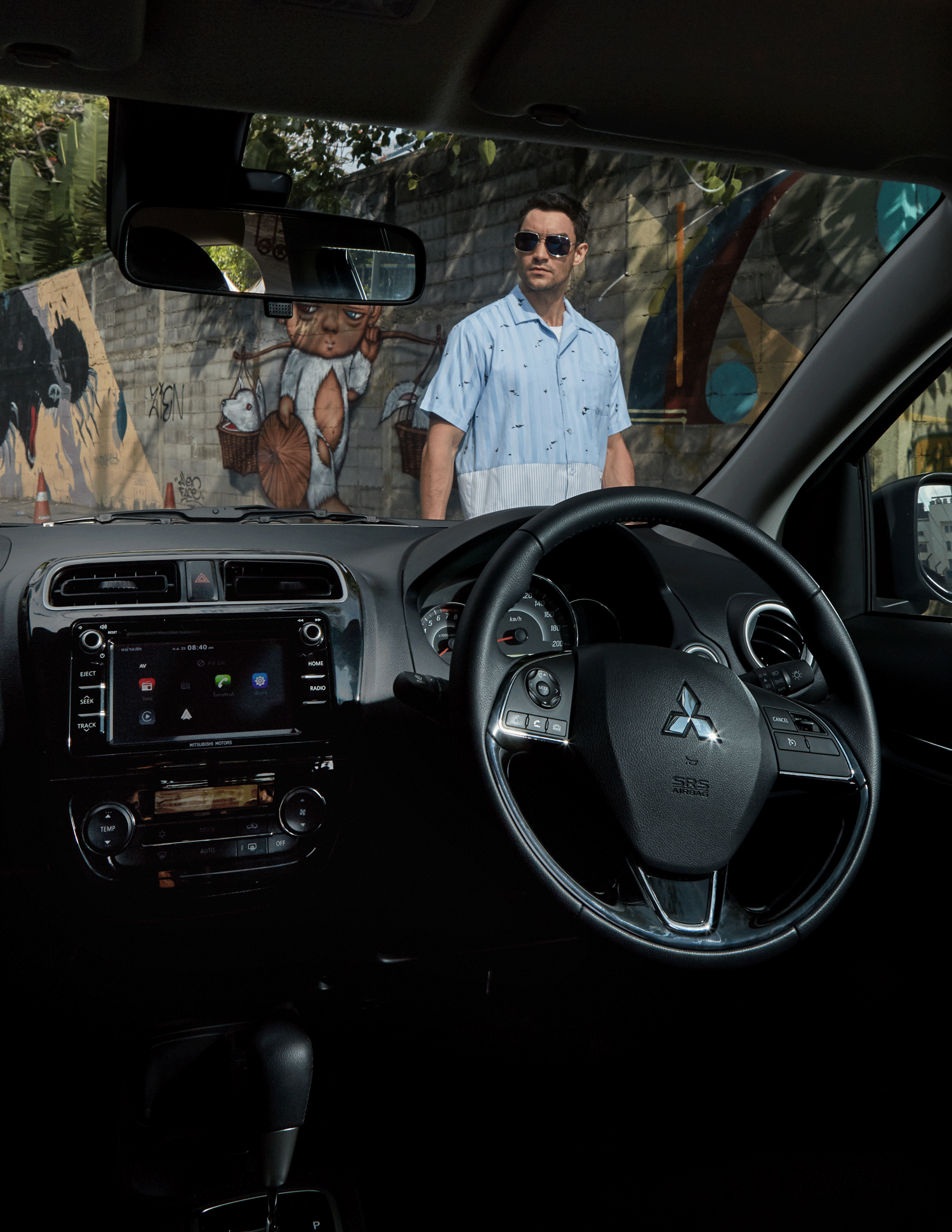 car : Mitsubishi NEW Attrage  shirt : Everyday Karmakamet / sunglasses : TAVAT