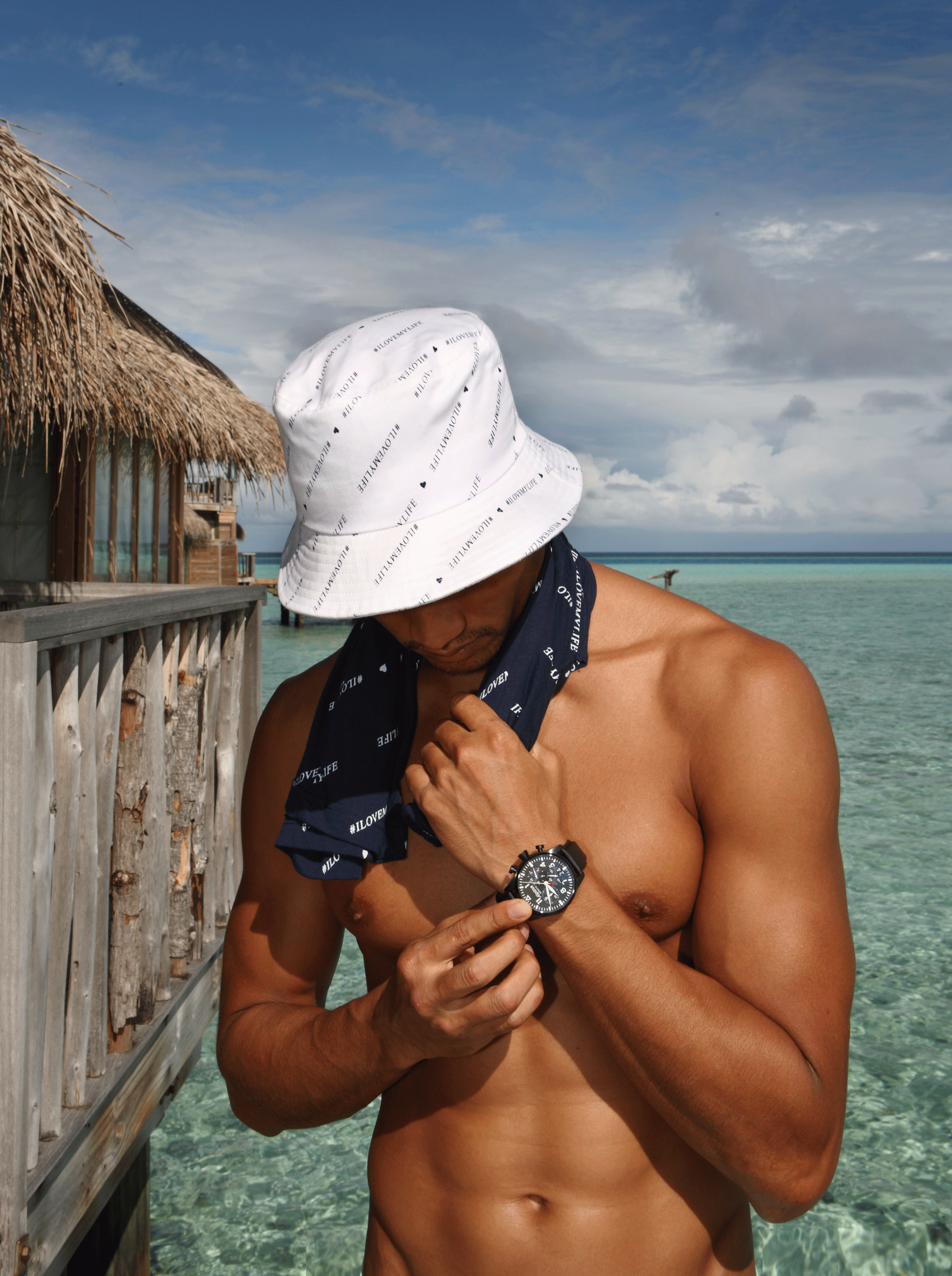 hat and T shirt : Everyday Karmakamet  watch : ALPINA STARTIMER PILOT BIG DATE CHRONOGRAPH