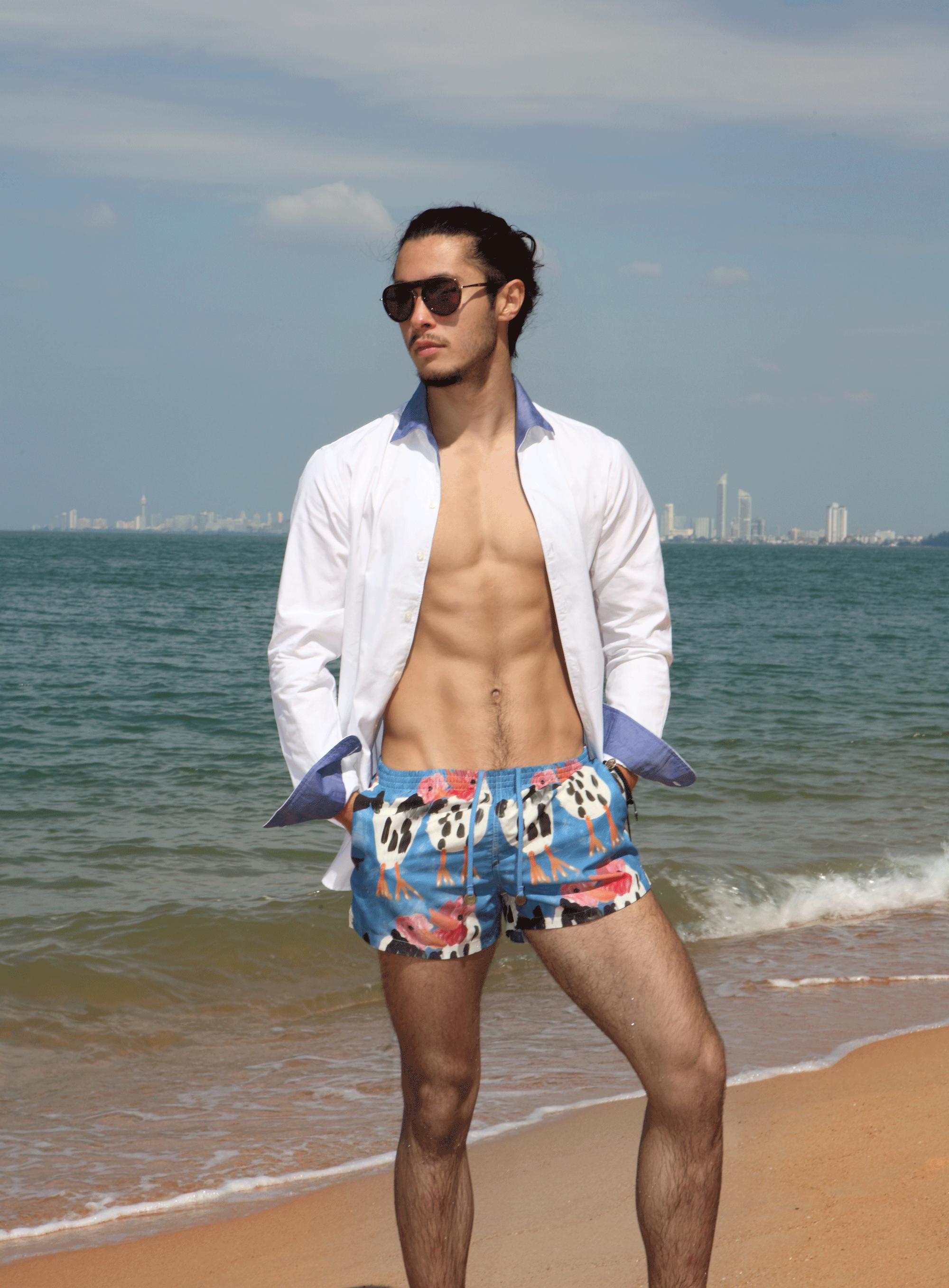 shirt and trunks : TIMO / sunglasses : Blake Kuwahara