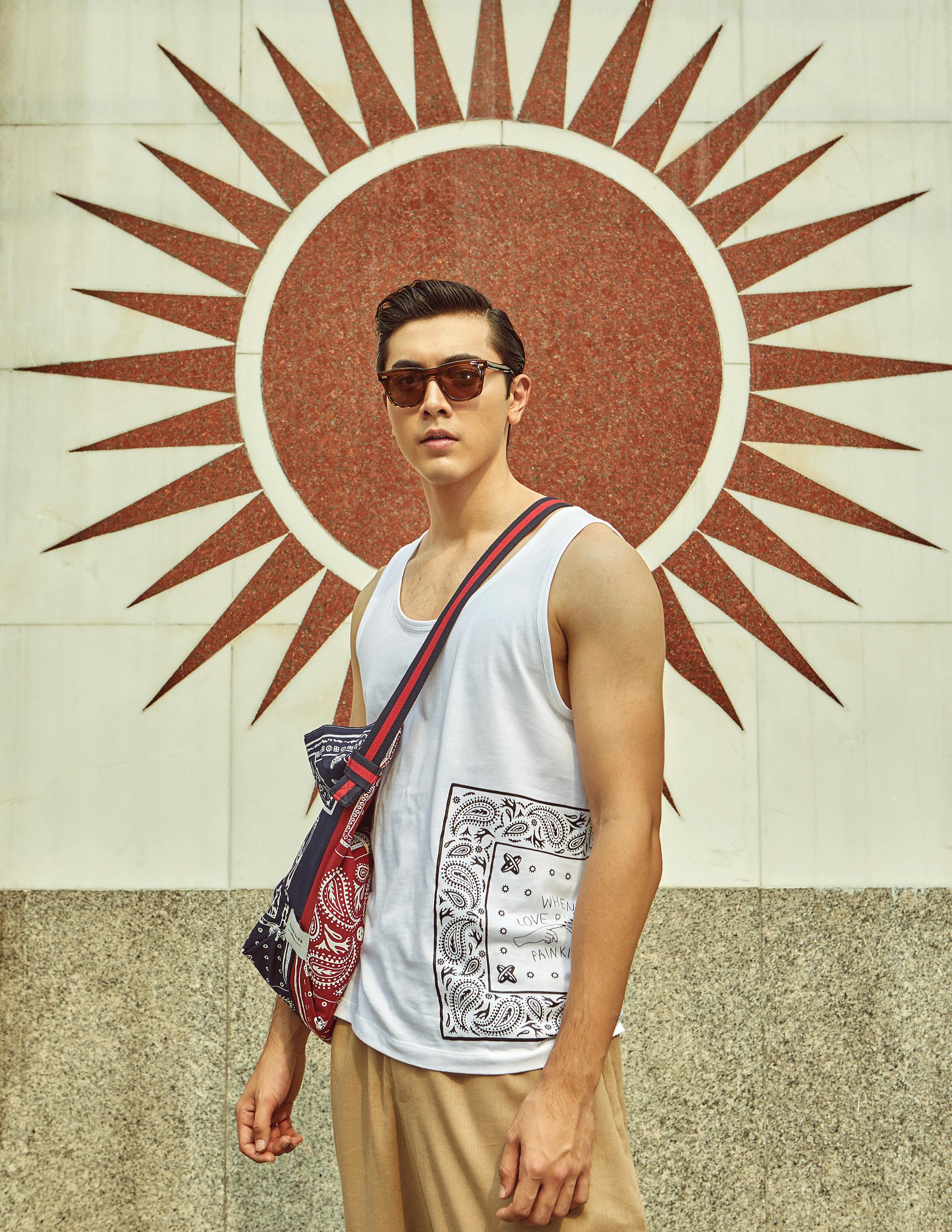 clothes and bag : PAINKILLER / sunglasses : Blake Kuwahara