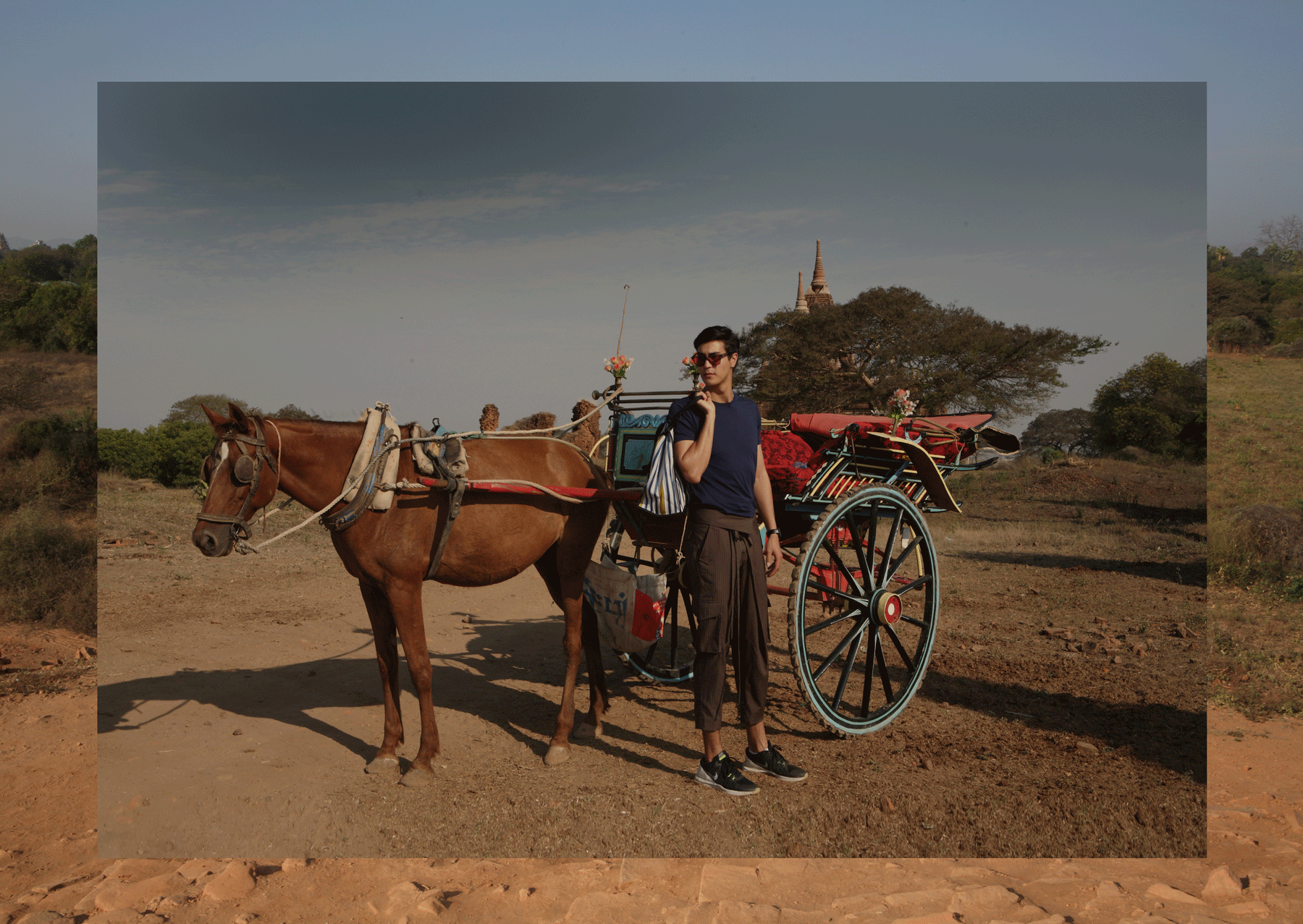Traditional Horse Cart Ride in Old Bagan  Tshirt : JOCKEY / pants : SARIT / sunglasses : SPEKTRE / watch : FORREST