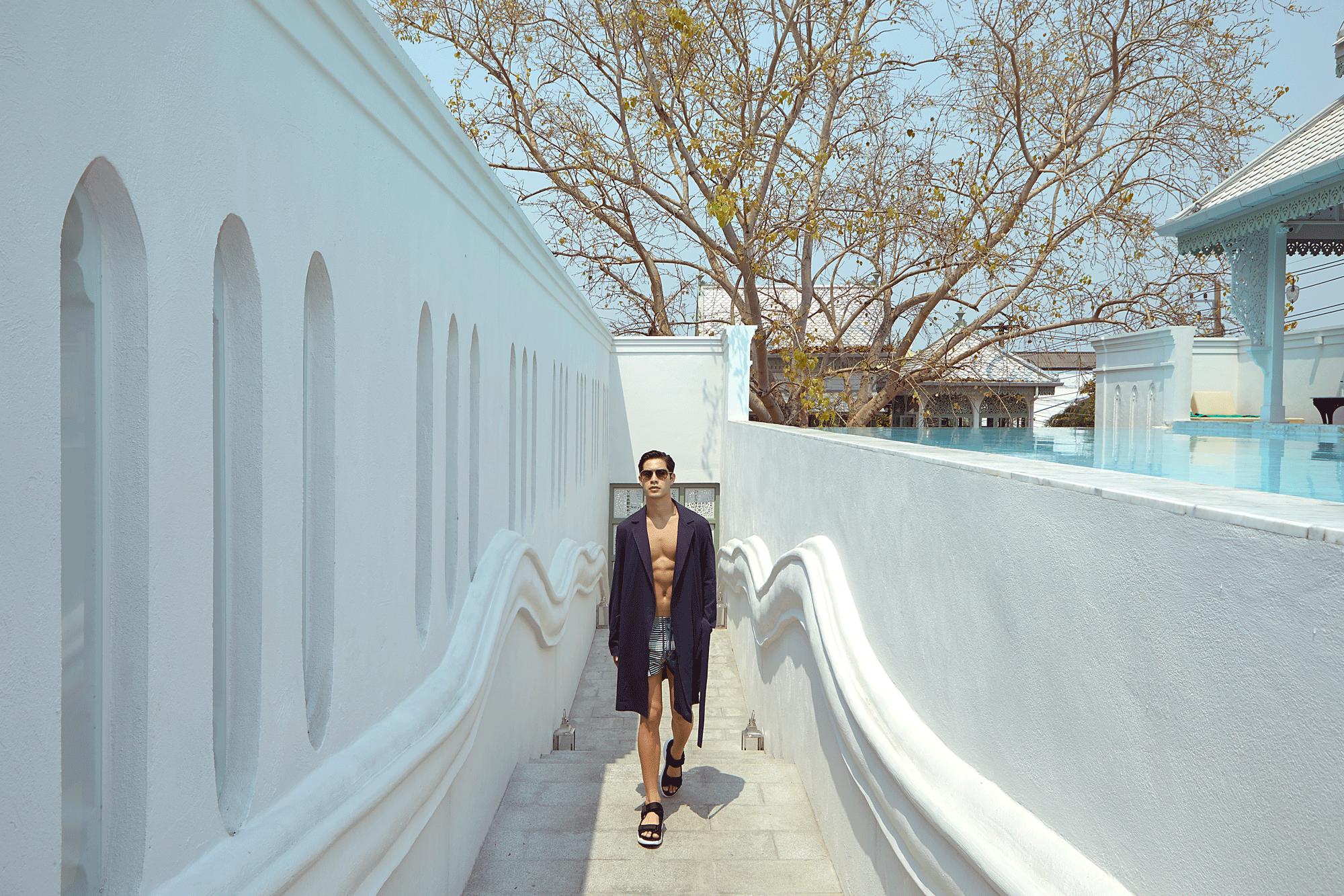 robe : SARIT / trunks : TIMO / sunglasses : Blake Kuwahara