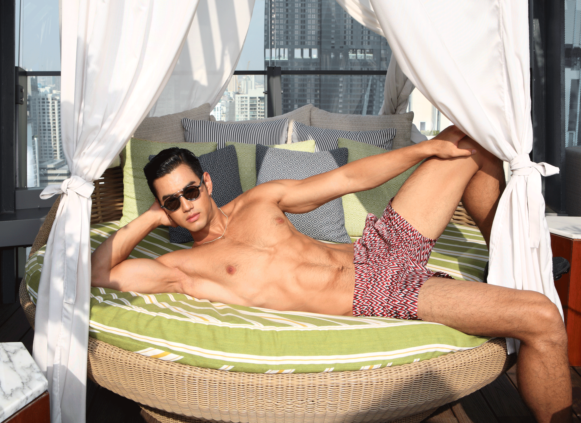 trunks : MISSONI / sunglasses : Blake Kuwahara