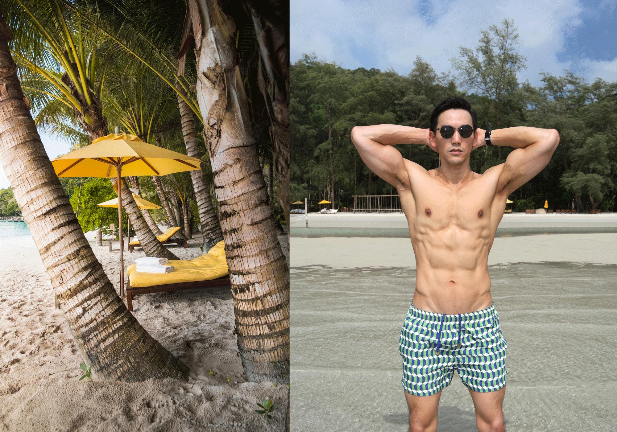 sunglasses : TAVAT / trunks : TIMO