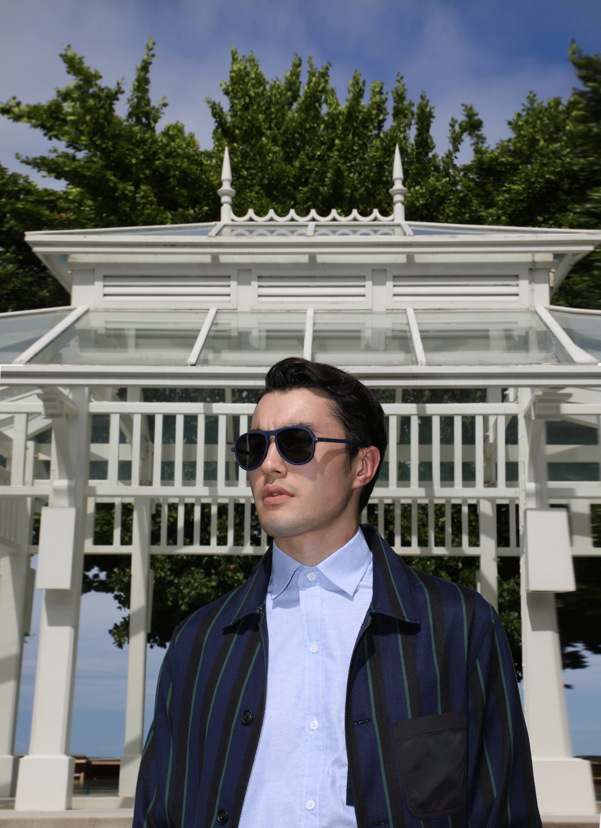 shirt and jacket : Leisure Projects / sunglasses : IZIPIZI