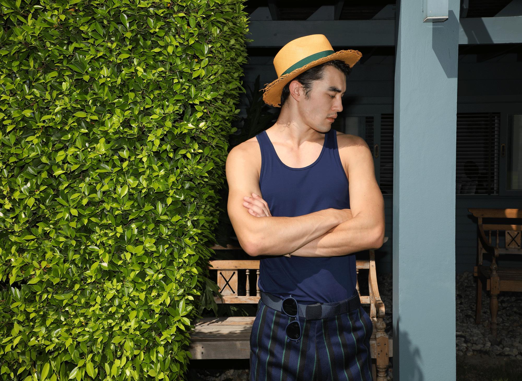 tank top : JOCKEY / shorts : Leisure Projects / hat : Famosa Andina