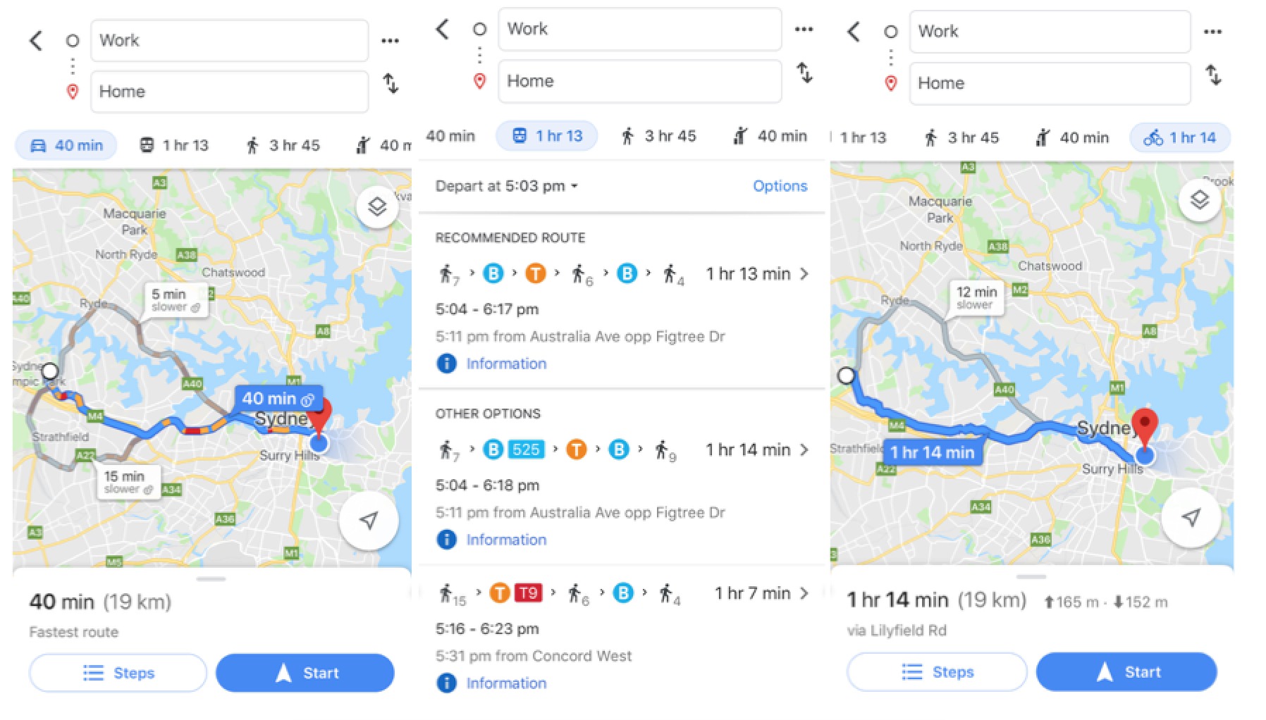 Commute to and from Eastern suburbs from Western suburbs
