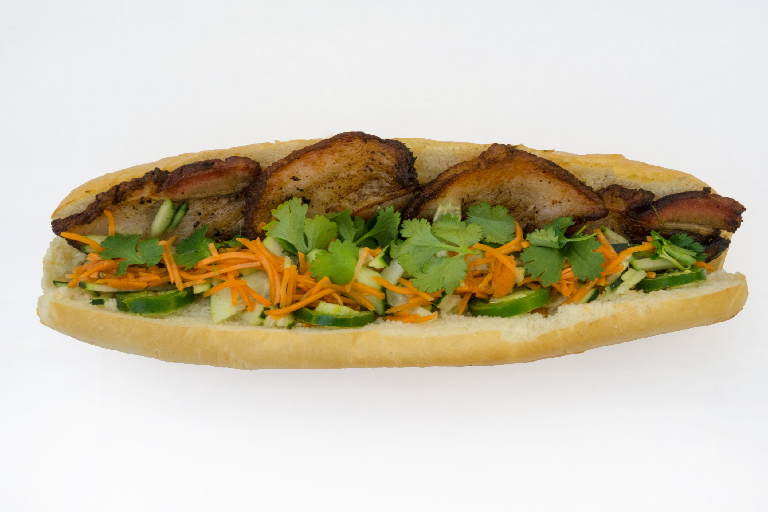 Pork Belly Banh Mi: You can never go wrong with some juicy pork belly.
