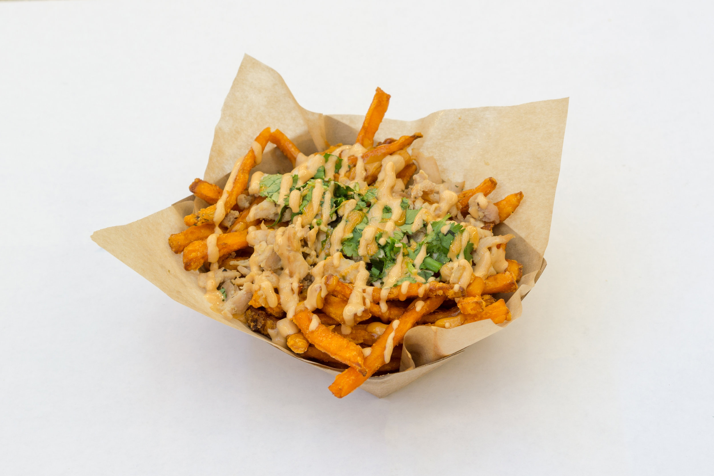 Sweet Potato Fries with Chicken: The shrimp version was a huge hit! Now there's a version for you non seafood lovers.