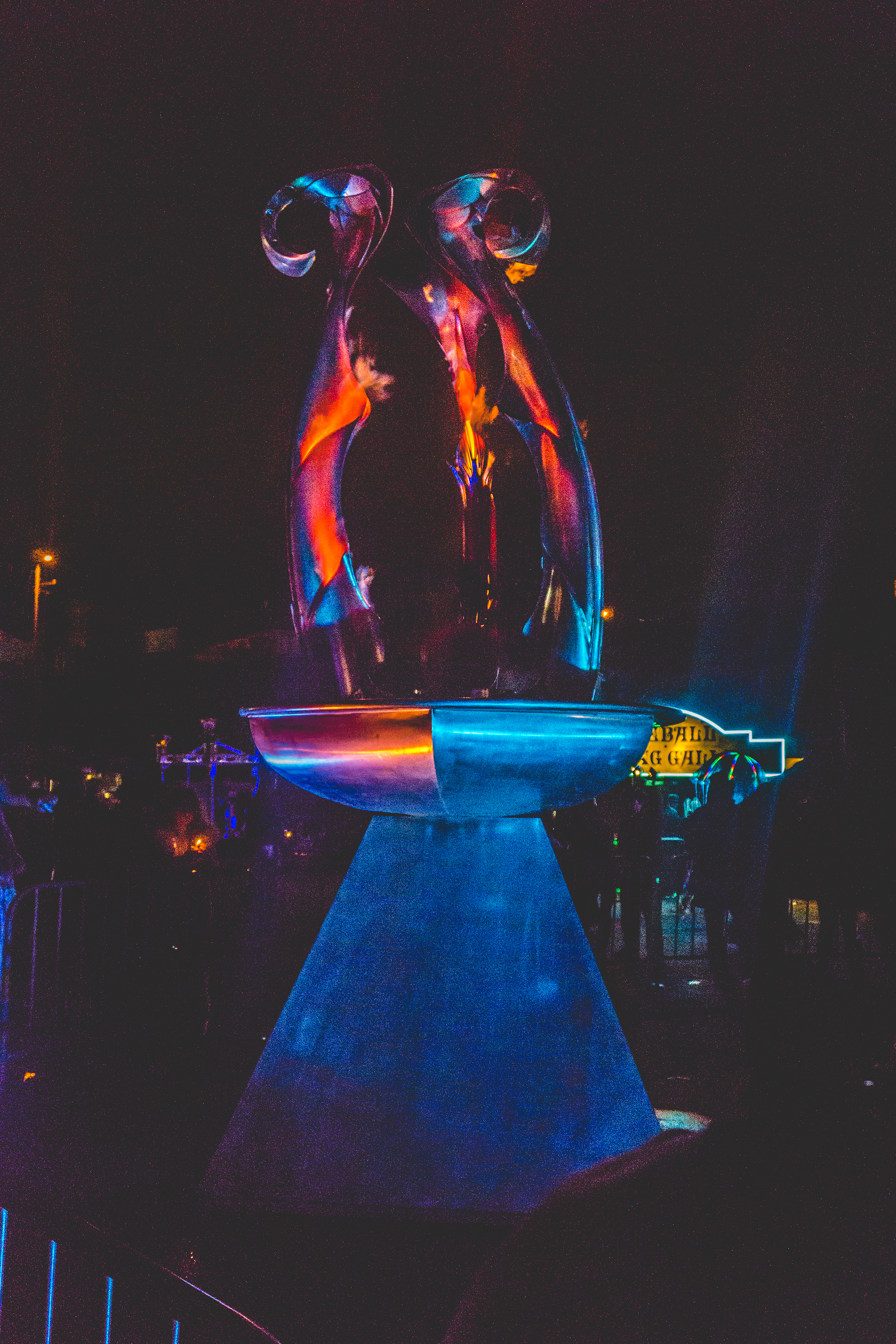 Divinatrix by Orion Fredericks: A water/steam, propane vapor/ methanol fountain made of hand formed  stainless steel