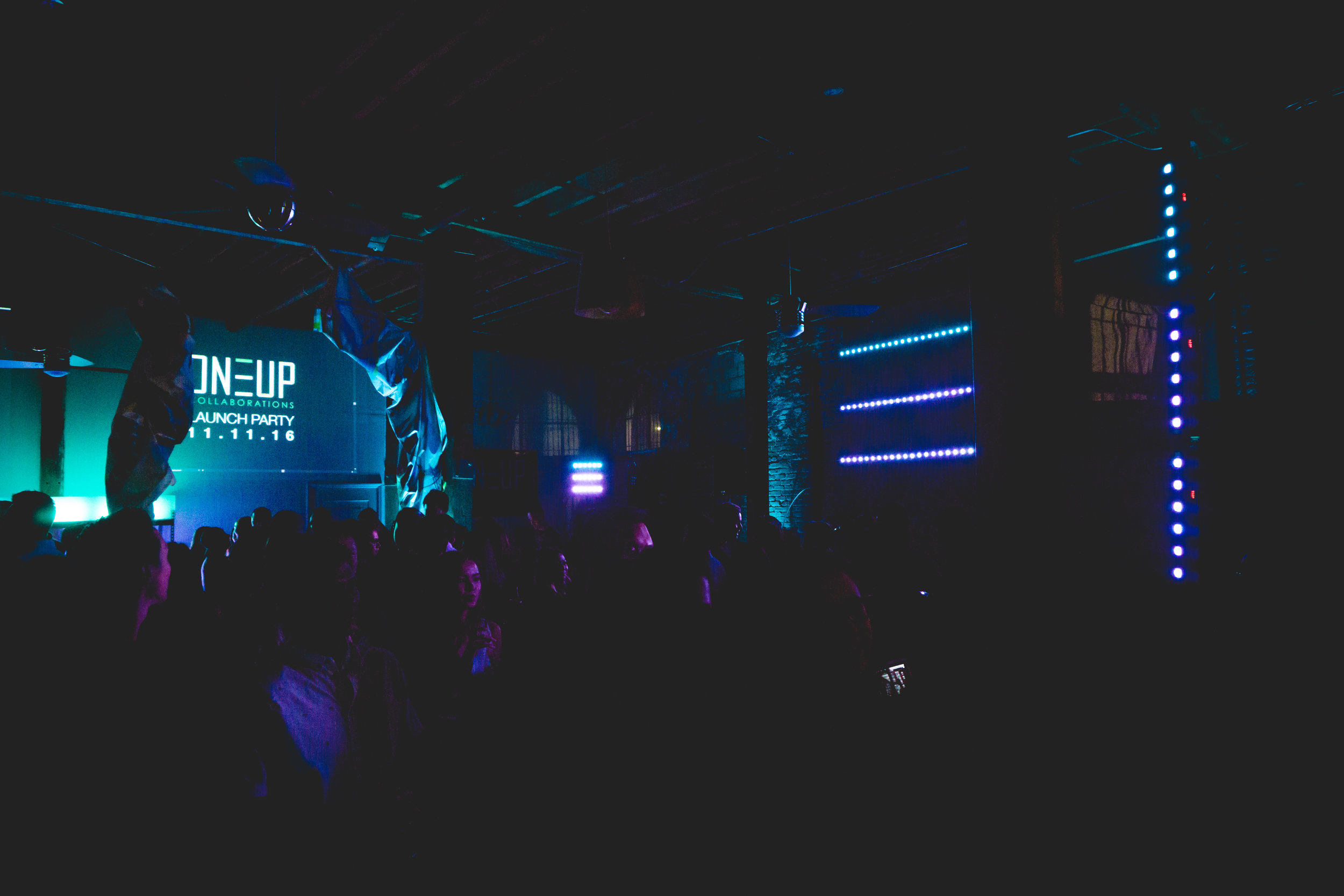 Shout out to DJZ Productions for perfect lighting that was totally on brand with the ONEUP logo.