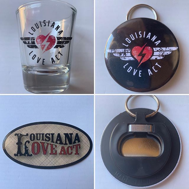 Help #support #independentmusic Get your #groovy new #merch now available at a #louisianaloveact #show near you! 🎶❤️🎶 #shotglass #bottleopenerkeychain #stickers #rocknroll #soul #rock #blues #livemusic #music