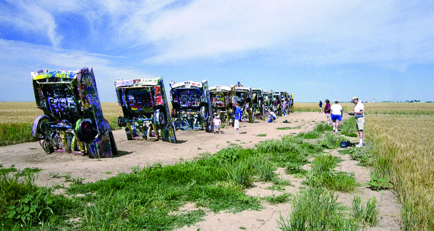 Documenting the highway 'Cadillac Ranch' photograph by Bob Pauly (2006) (Pixar Studios)