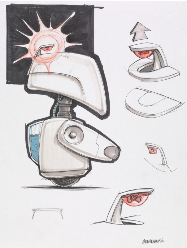 Industrial Designer  Jason Deamer  draws functional movements in WALL-E (2008) (Pixar)