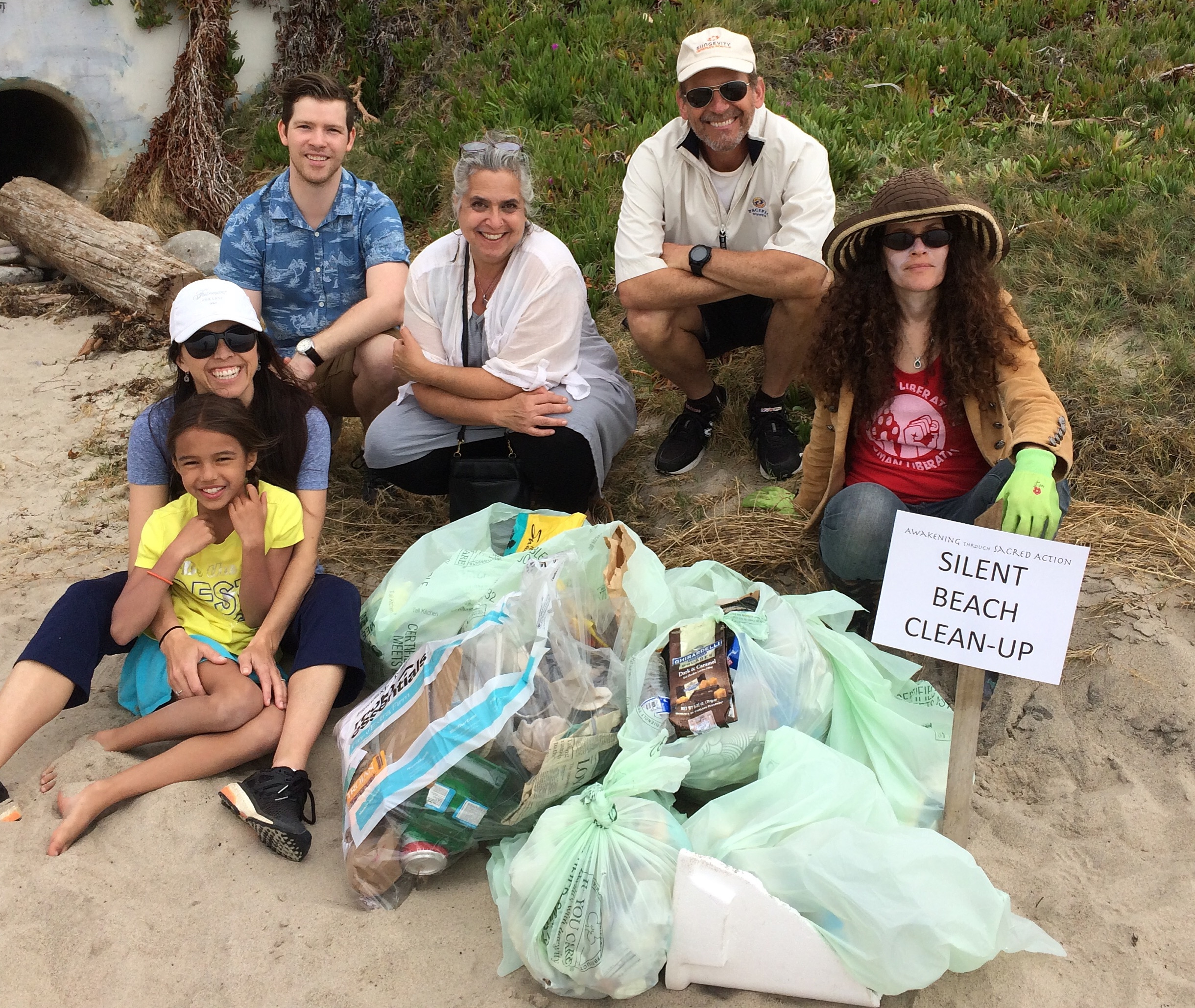Volunteers after cleaning Will Rogers State Beach in Pacific Palisades.