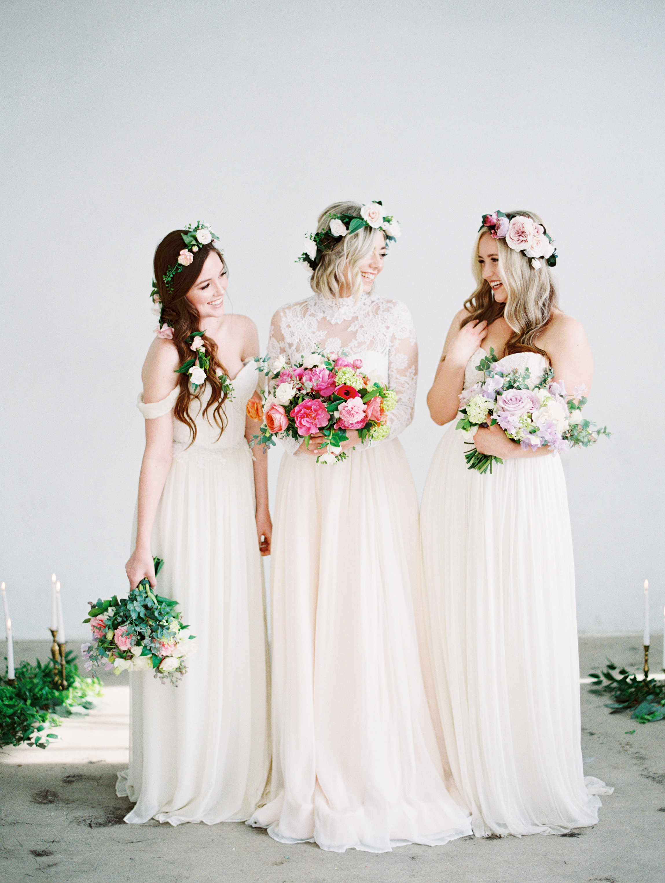 bride bridesmaids flower crowns