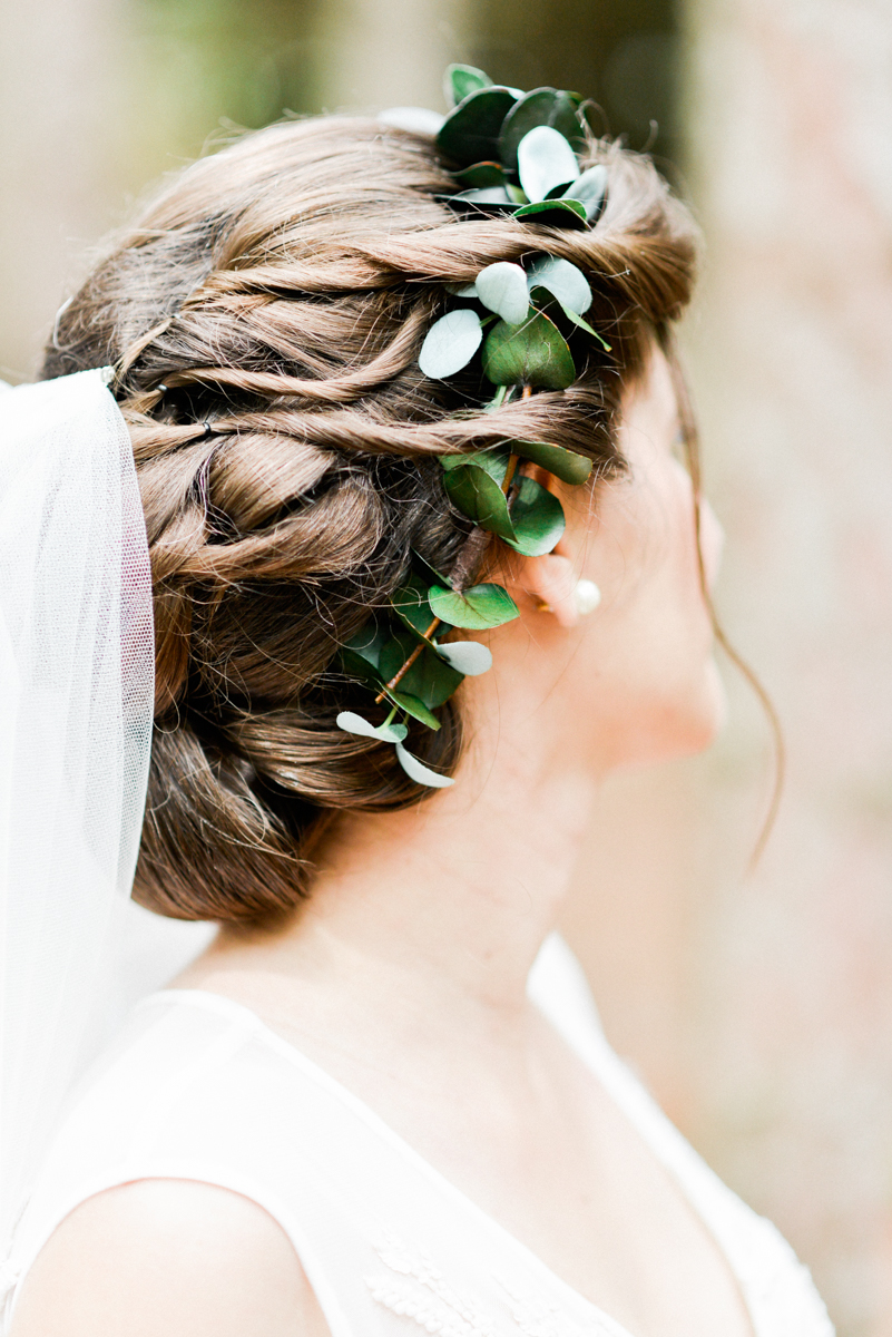 custom greenery bridal crown of eucalyptus by Love Sparkle Pretty. Bridal updo hairstyle with crown and veil.