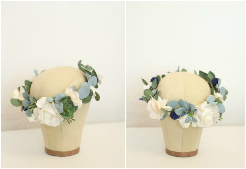 custom flower crown with white and cream florals, blue thistle and eucalyptus leaves by Love Sparkle Pretty