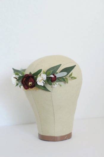 A custom  Ester Comb  with added burgundy florals