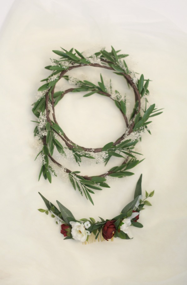 bridesmaids olive leaf and babies breath flower crowns with coordinating bridal comb with burgundy flowers and greenery by Love Sparkle Pretty