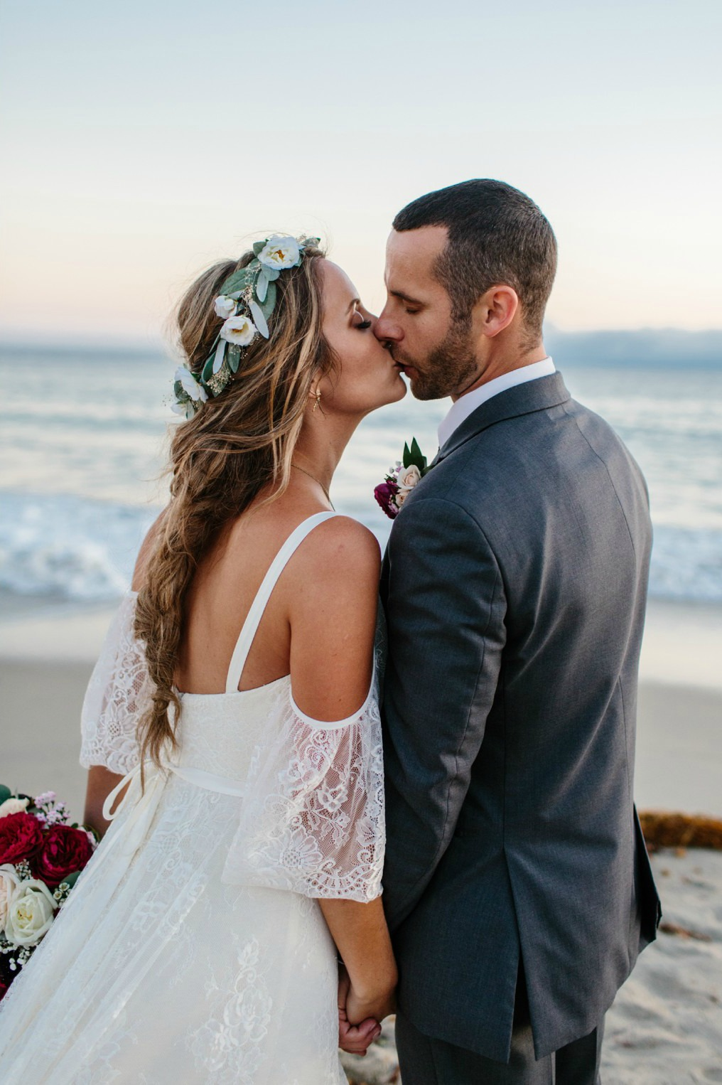laguna beach wedding with beautiful braided bridal hairstyle and flower crown by Love Sparkle Pretty